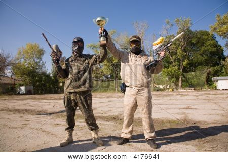 Paintball Players With Gold Cup