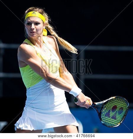 MELBOURNE - JANUARY 19: Maria Kirilenko of Russia in her third round win over Yanina Wickmayer of Belgium at the 2013 Australian Open on January 19, 2013 in Melbourne, Australia.