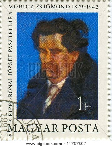 HUNGARY - CIRCA 1979: Postage stamps printed in Hungary dedicated to Zsigmond Moricz (1879-1942),  Hungarian novelis, circa 1979.