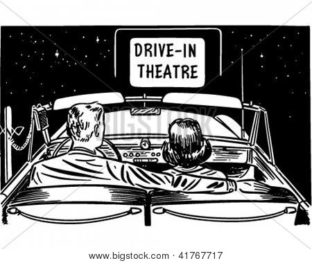 Paar Drive-In Theatre, Retro Clipart Illustration