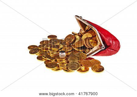 Scattered  Gold Coins Are In  Red Purse And Dice With Word Sell Isolated On White Background.