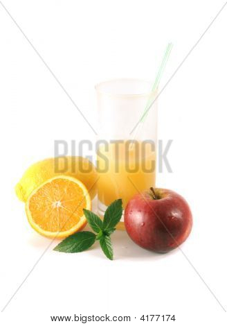 Fruit And Glass With Juice