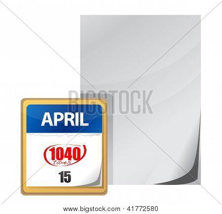 Taxes Calendar April 15Th Paper