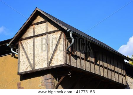a half-timbered house at a great height