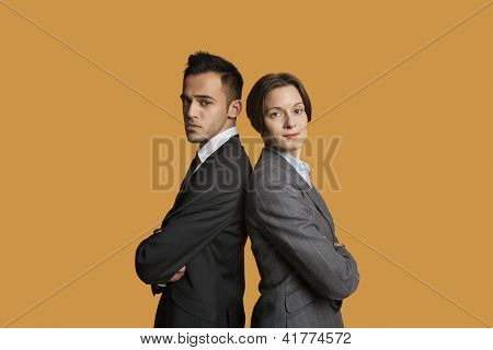 Portrait of a business partners standing back to back with arms crossed