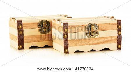 Hand Made Wooden Box Isolated On White Background