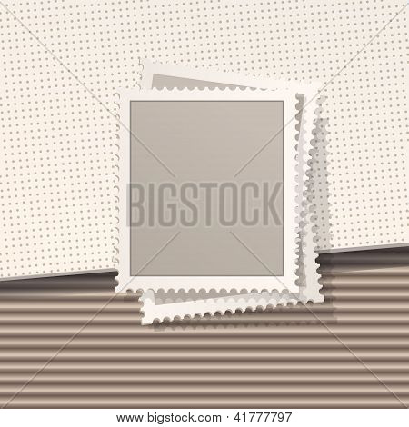 Blank Post Stamp On The Brown Corrugated Cardboard Texture. Vector Design