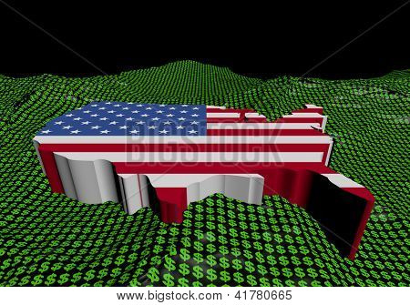 USA map flag in abstract ocean of binary illustration