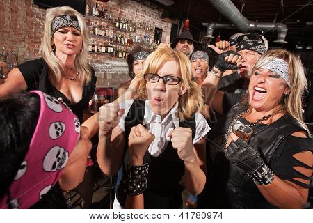 Nerd With Hostile Biker In Bar
