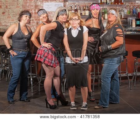 Nervous Nerd With Gang In Bar