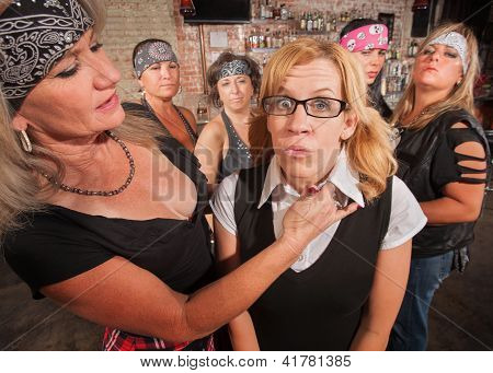 Scared Nerd With Tough Woman