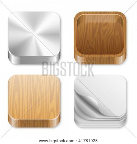 Icon trendy templates for any applications. Different pattern texture collection. UI Square icons set. High detail vector metal, wood, paper. Editable.