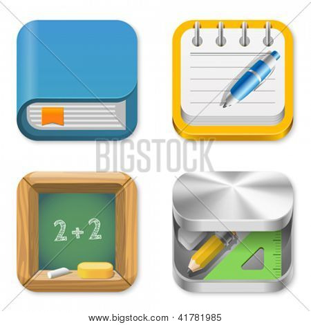 Icons pack for Education applications. Book, Notepad, Blackboard, Pencil box. UI Square icons set. High detail vector icon pack. Editable.