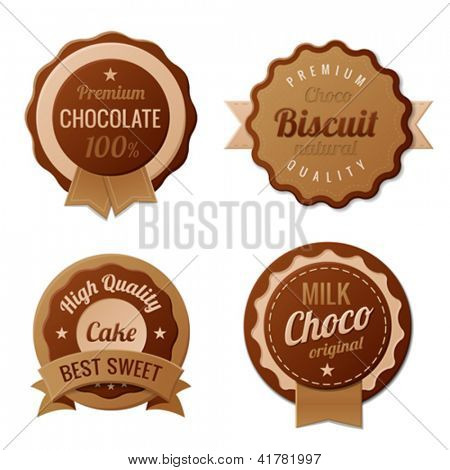 Chocolate Vintage Labels template collection.  Choco Luxury Retro design. Extra High quality Vintage. Vector.