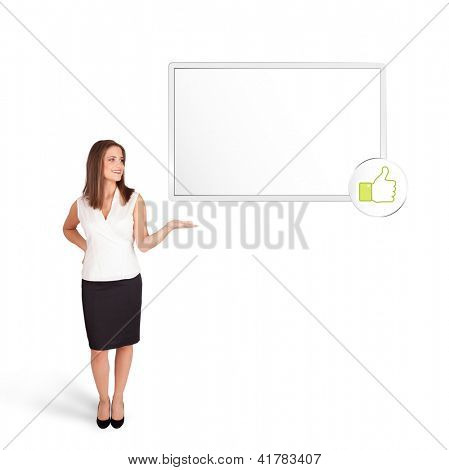 Beutiful young woman presenting modern copy space isolated on white