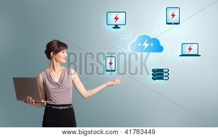 Beautiful young woman holding a laptop and presenting cloud computing network