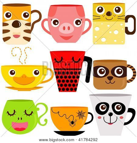 Vector collection of Coffee Cup and Mug with different animal patterns