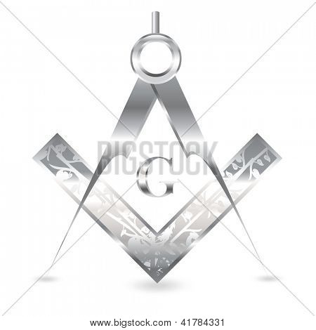 Old-fashioned engraved silver square and compass set isolated on white. Also available in vector format
