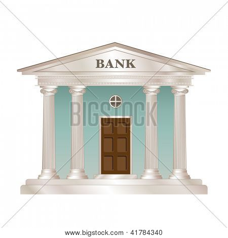 Bank building in the style of a classical Greek or Roman temple. Also available in vector format.