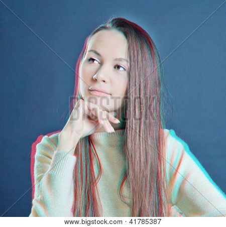 beautiful woman 3d photo (need 3d anaglyph glasses to take effect)