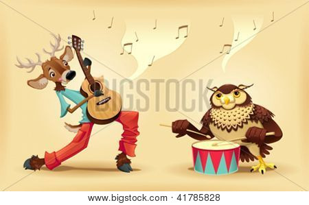 Musicians animals. Cartoon and vector isolated characters.