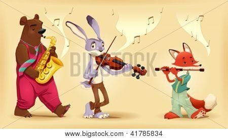 Musician animals. Cartoon and vector illustration.