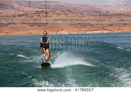 Blonde Wakboarding In The Desert