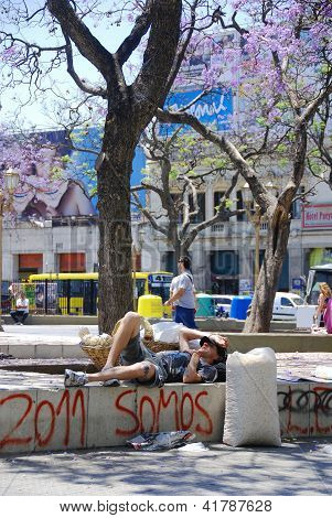 Young man rest in park
