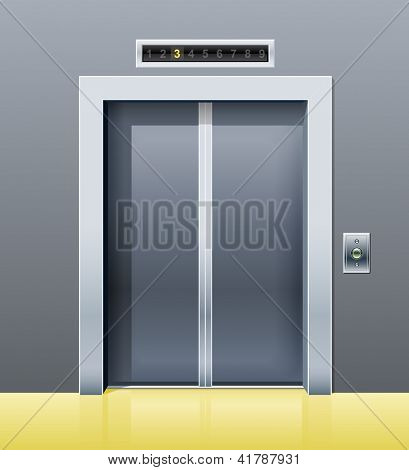 elevator with closed door. Rasterized illustration. Vector version also available in my gallery.