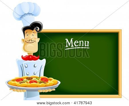cook with pizza and menu. Rasterized illustration. Vector version also available in my gallery.