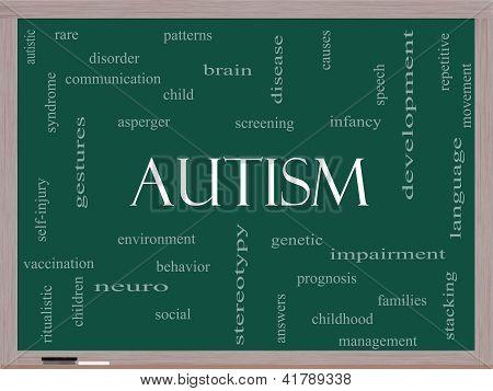 Conceito de nuvem de palavra de autismo em um quadro negro