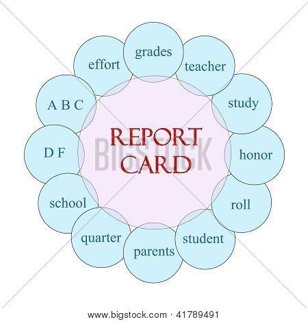 Schulzeugnis kreisförmige Wort Konzept