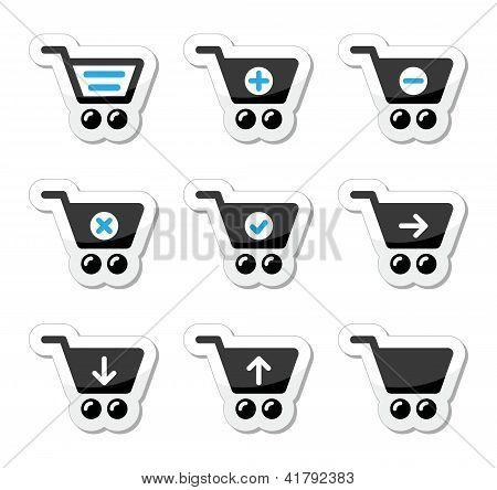 Shopping cart vector icons set