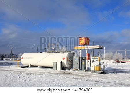 Diesel Fuel Dispenser At Filling Station