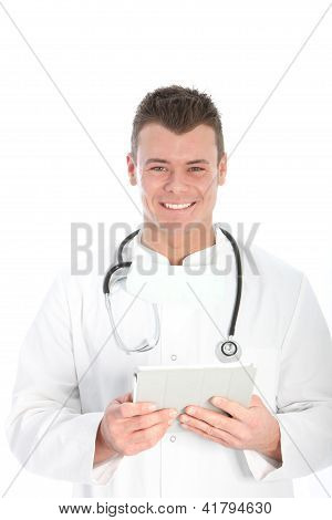 Smiling Doctor Working With A Tablet