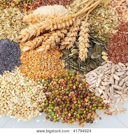 Variety Of Edible Seeds With Ears Of Wheat