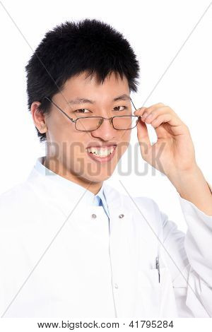 Smiling Asian Man Wearing Glasses