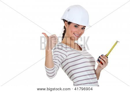 Tradeswoman giving the thumb's up