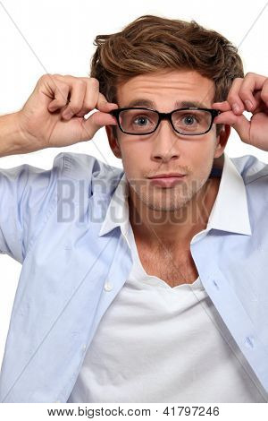 Bleary eyed man in glasses
