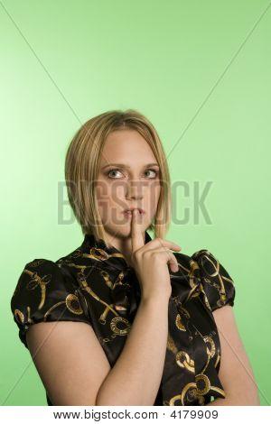 Woman Standing Over Green Screen