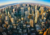 image of highrises  - Fisheye aerial panoramic view over upper Manhattan - JPG