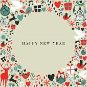 stock photo of happy new year 2013  - Christmas decorations icons in 2013 happy new year postcard background - JPG