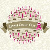foto of world health organization  - Breast cancer care globe awareness with women teamwork on icon set background - JPG