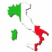 pic of italian flag  - map of Italy and Italian flag illustration - JPG
