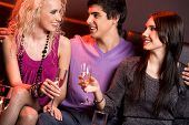 stock photo of young adult  - Portrait of smart young people holding champagne flutes and chatting with each other - JPG