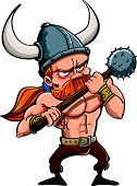 stock photo of bare chested  - Cartoon illustration of a fierce redhead viking warrior in a horned helmet carrying a spiked mace isolated on white - JPG