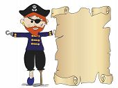 stock photo of crossed pistols  - a illustration of pirate with treasure map - JPG
