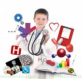 image of pediatrics  - A child is wearing a doctor uniform with health and medical icons around the boy for an education career concept - JPG
