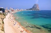 stock photo of costa blanca  - Beautiful view on sandy beach in Calpe in Spain - JPG