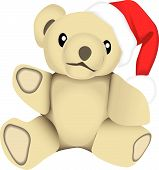 pic of santa claus hat  - vector drawing of a stuffed bear wearing a santa claus hat - JPG